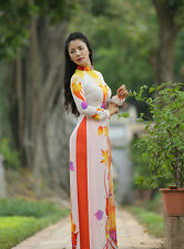 Floral Vietnamese Ao Dai Custom Made, Chiffon Dress, Carrot Satin Pant, V Neck