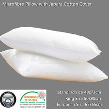2 x Microfibre Pillow with Japara Cotton Cover Standard/European/King Size