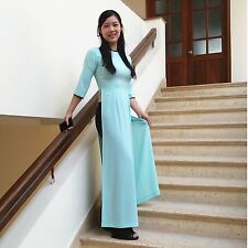 Paradise Green Vietnam Ao Dai Premade, Chiffon Dress, Black Satin Pant