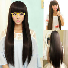 New Womens Long Straight Full Hair Cosplay Wig Lolita Party Wigs+ Free wig net