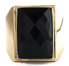 BIG BLACK ONYX GOLD BRASS BRONZE RING NEW SIMPLY ELEGANT JEWELRY