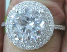 925 sterling silver 14mm CZ Round ENGAGEMENT Ring big Size 4.75 to 12US - GIRL