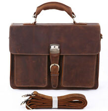 Fashion Mens Genuine Leather Large Briefcase Cowhide Laptop Handbag Shoulder bag