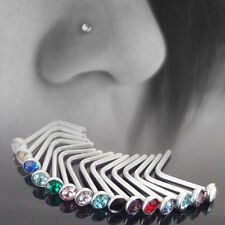 New Arrival 10pcs Stainless Steel Nose Body Piercing Stud Crystal Screw Ring