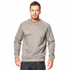 883 Police Mens Ortiz Marl Grey Sweatshirt Hoody Hoodie Top Crew Neck Zip Detail