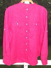 RALPH LAUREN SOLID DARK PINK LINEN CASUAL CONVERTIBLE LONG SLEEVE BLOUSE M L NEW
