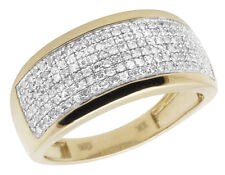 Ladies 10K Yellow Gold Real Diamonds Pave Engagement Band Ring 0.60ct 9MM