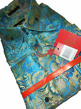 Mens Leonardi Party Shirt 428 Turquoise Tropical Paisley Ultra High Collar F/C