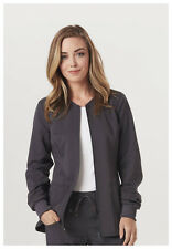 Scrubs Code Happy Zip Front Warm-Up Jacket CH312A PEWH Pewter Free Shipping