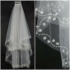 White/Ivory 2T Elbow Beaded Edge Pearl Sequins Bridal Wedding Veil With Comb
