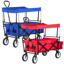 Folding Collapsible Wagon w/Canopy Cart Outdoor Utility Garden Beach Sports