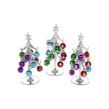 Medium Silver Decorated Glass Xmas Tree With Baubles.Lovely Christmas Decoration