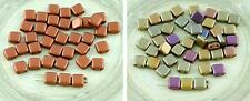 40pcs Matte Tile Czech Glass Beads Two Hole Flat Square 6mm x 6mm