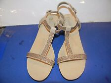 Womens Anne Klein AK JOVIAL 2 inch wedge heels Taupe Gold Sparkle Elastic straps