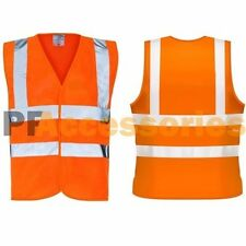 High Visibility NEON Orange ANSI CLASS 2 Safety Vest w/ Double Reflective Strip