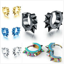 2pcs Punk Mens Women Stainless Steel Hoop Huggies Gothic Ear Stud Earrings Gift