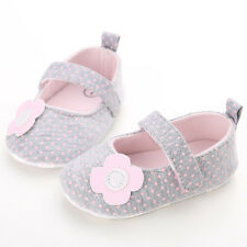 Toddler Baby Girl Gray Crib Shoes Soft Sole Ballet shoes Size 0-18 Months 3087