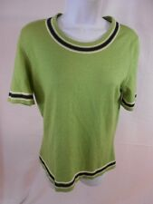 Oscar de la Renta Silk Blend Knit Short Sleeve Green Top Navy Details Size L