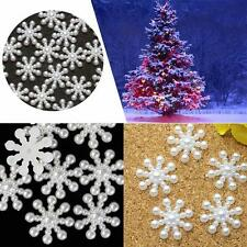 100x Snowflakes/ Snow Crystals Half Pearl Flatback Scrapbooking Art Crafts 15mm