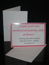 X25 A5 265GSM BLANK GREETING CARDS WITH/WITHOUT ENVELOPES INKJET PRINTABLE GLOSS