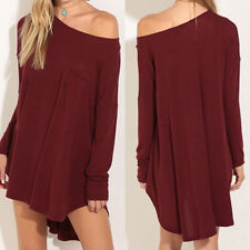 Loose Women's Sexy Off Shoulder Wine Long Sleeves Irregular Hem Lady Maxi Dress&