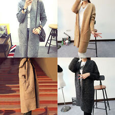 Women Sweater Long Cardigan Long Sleeve Loose Thick Knitted Cardigan Long Coat W