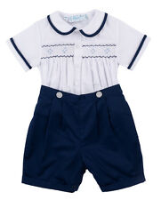 Boys Feltman Brothers Navy & White Smocked Short Set NWT Infant & Toddler
