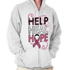 Breast Cancer Awareness Help Heal Hope Pink Ribbon Gift Zipper Hoodie