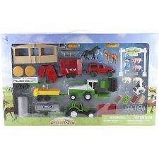 New Ray Country Life Farm Play Set Stable Tractor Trailers Hay Baler Pigs Horses