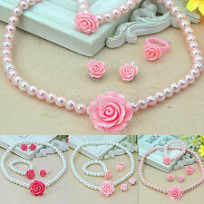 Girls Imitation Pearls Flower Baby Children Necklace&Bracelet&Ring&Ear Clips Set