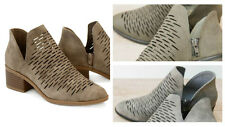 Fashion Perforated Cut-Out Ankle Booties Boots Almond Toe Stacked Heel