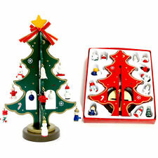 Exquisite Mini Wooden Christmas Tree+16pc Cute Hanging Ornaments Xmas Decoration