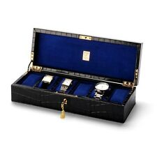 Aspinal of London Harrison Black Croc & Cobalt Blue Suede 6 Watch Box. RRP £420.