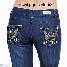 Designer Straight Leg Stretch Jeans Studs Embroidered Sizes 0 3 7 9 11