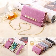 Luxury Deluxe Bling Flip Chain Wallet Purse Matte Leather Removable Case Cover