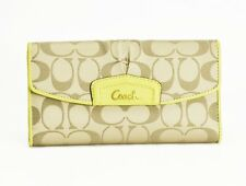 Coach Wallet Ashley Signature Sateen/Leather Trim Checkbook Case Khaki/Chartreus