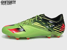 ADIDAS MESSI 15.1 FG LEATHER SOCCER CLEATS SOLAR SLIME GREEN RED BLACK S74679