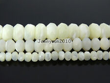 Natural White Mother Of Pearl MOP Shell Faceted Rondell Beads 15.5'' 4mm 6mm 8mm