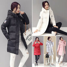 New Womens Slim Thicken Down Cotton Warm Long Hooded Jacket Coat Parka Trench