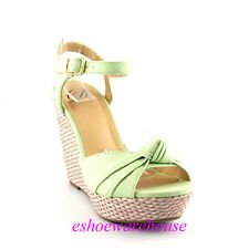 Pastel Mint Awesome Cutie Fabric Knot Espadrilles Wedge Sandals Shoe Ankle Strap