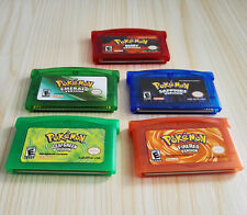 5pcs Pokemon Games GBA/DS Set - Fire Red, Leaf Green, Ruby, Sapphire, Emerald