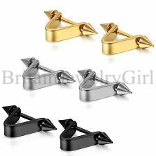 "Pair Men Women Cool ""V"" Shape Stainless Steel Ear Stud Earrings Piercing Jewelry"