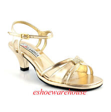 Gold Metallic Low Comfy Mid Heel Dress Rhinestone Sandals Shoes Ankle Strap