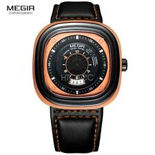 Megir Fashion Mens Black Leather Strap Square Dial Quartz Wristwatch 2027