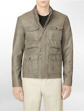 NWT CALVIN KLEIN MENS FAUX LEATHER POCKET JACKET WALNUT SIZE SMALL