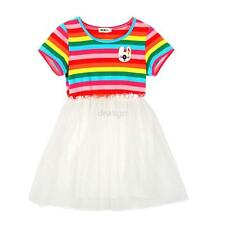 Girls Kids Rainbow Dress Top Skirt Short Sleeve 2-7Y Baby Princess Party Clothes