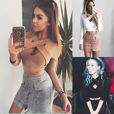 Sexy Women Long Sleeve Crop Top T shirt Clubwear Casual Blouse Slim Cropped Tops