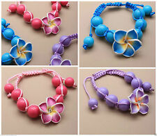 Bright Coloured Beaded Cord Fimo Flower Motif Bracelet