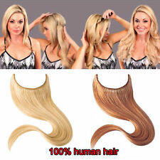 uk hot Invisible Halo human Hair Extension Wire Headband Crown Extensions thick