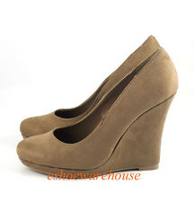 Faux Suede Natural Khaki OMG Awesome Sexy Round Toe Tall Wedge Platform Pumps
